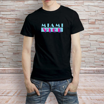 Miami Vice Vintage Retro 80 Tv Seies T-Shirt erkek Tişört