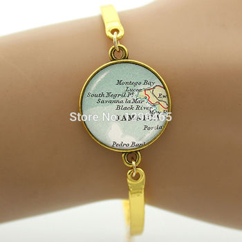 Elegant and charming winter style Vintage Jamaica map jewelry Handcrafted Souvenirs gift jewelry B 630