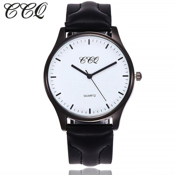 CCQ Men Watch Luxury Brand Leather Black Simple Watches Clock Female Male Sport Clock Business Watches Gift