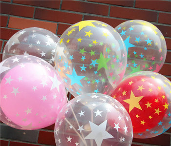 Hot Pentagram transparent colored latex balloon 12 inch 20 pcs/lot children's toys decorated birthday party celebration globos