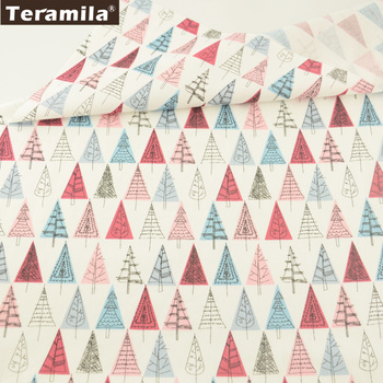 Teramila Cotton Fabrics Cartoon Red and Blue Trees Patterns Quilting Patchwork Cloth Decoration Bedding Tela Sewing Home Textile