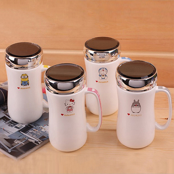 New Cartoon Style Porcelain Mug With Mirror Lid Cute Tea Milk Coffee Mugs Ceramic Drinkware Water Bottle For Office Home